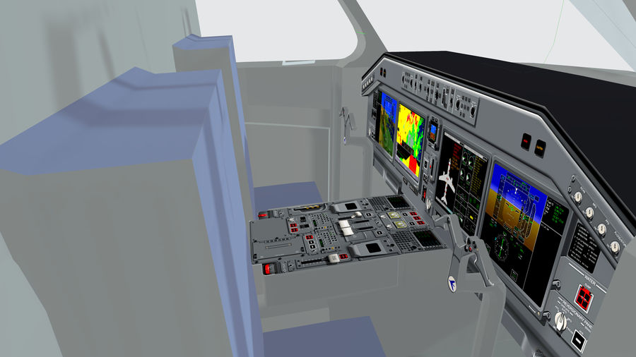 Cockpit Embraer 175 E-2 royalty-free 3d model - Preview no. 2