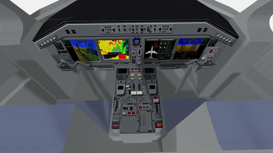 Cockpit Embraer 175 E-2 royalty-free 3d model - Preview no. 4