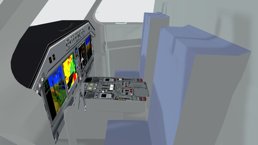 Cockpit Embraer 175 E-2 royalty-free 3d model - Preview no. 3