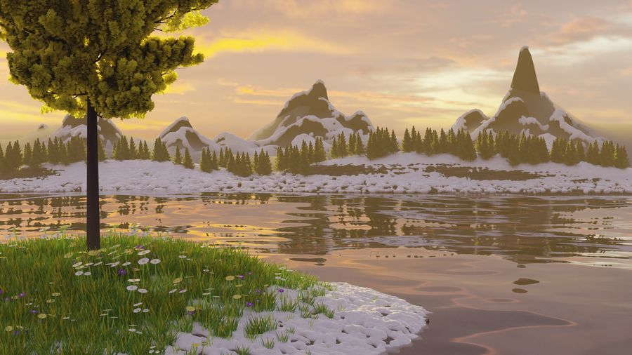 Beautiful Scene Of A Lake & A Snowy Mountain royalty-free 3d model - Preview no. 1