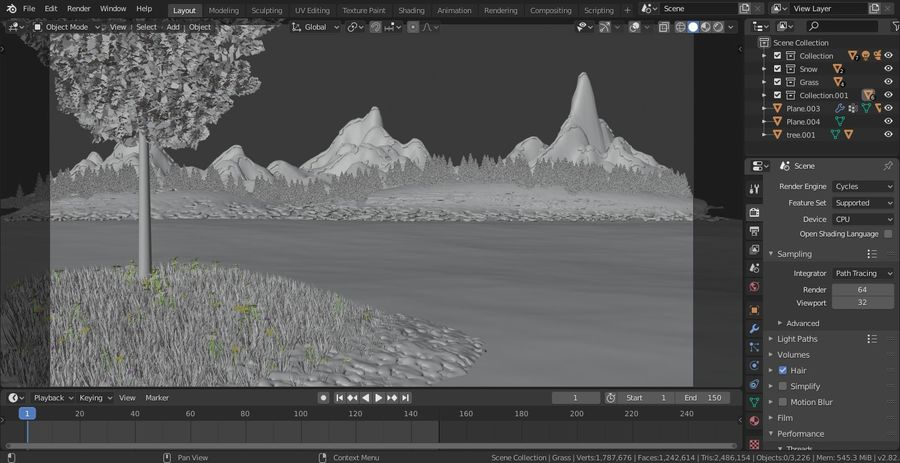 Beautiful Scene Of A Lake & A Snowy Mountain royalty-free 3d model - Preview no. 3