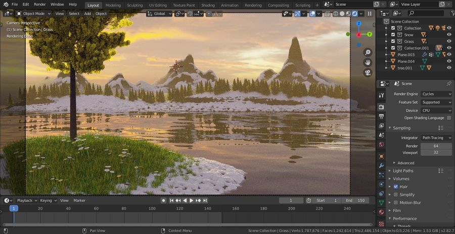 Beautiful Scene Of A Lake & A Snowy Mountain royalty-free 3d model - Preview no. 2