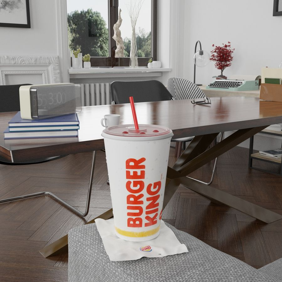 Burger King Photorealistic PBR Cup Low-poly royalty-free 3d model - Preview no. 9