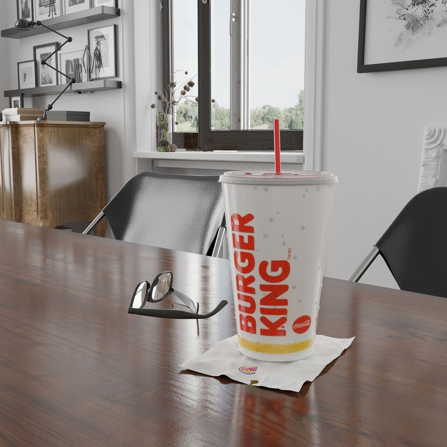 Burger King Photorealistic PBR Cup Low-poly royalty-free 3d model - Preview no. 5