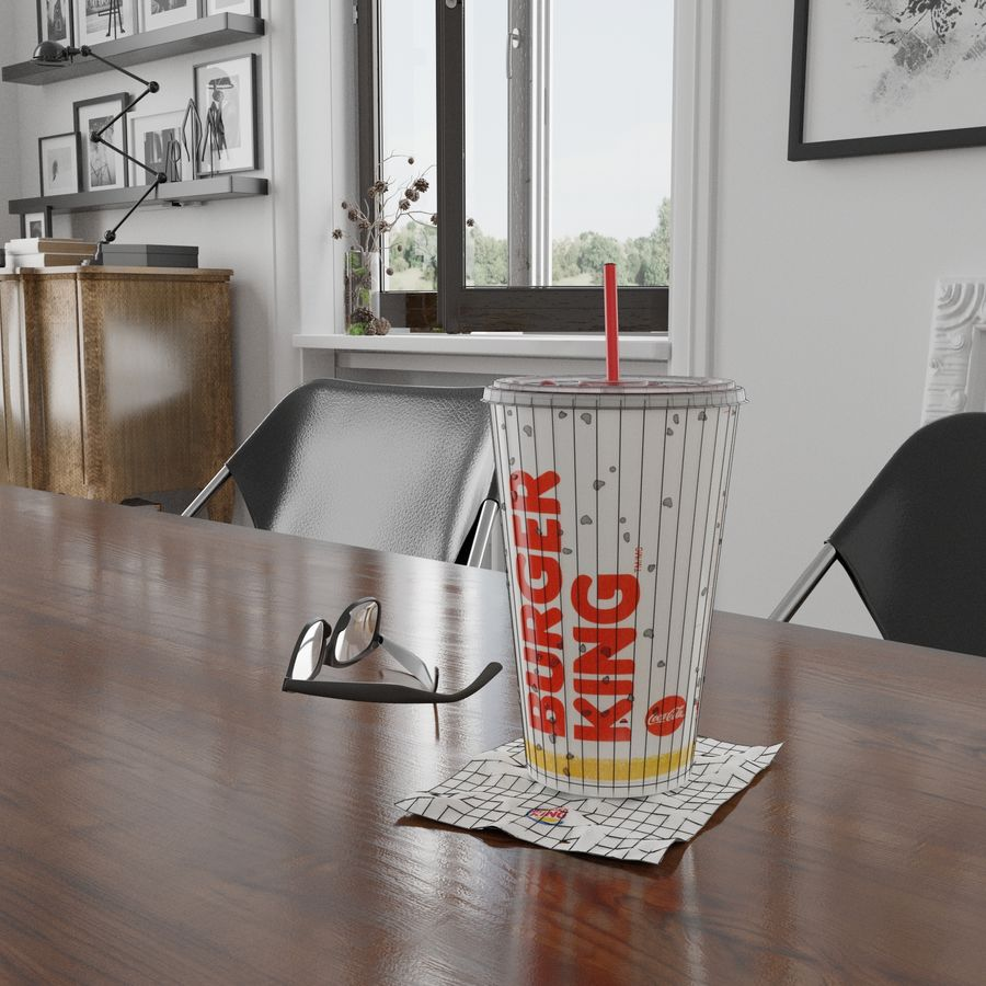 Burger King Photorealistic PBR Cup Low-poly royalty-free 3d model - Preview no. 6