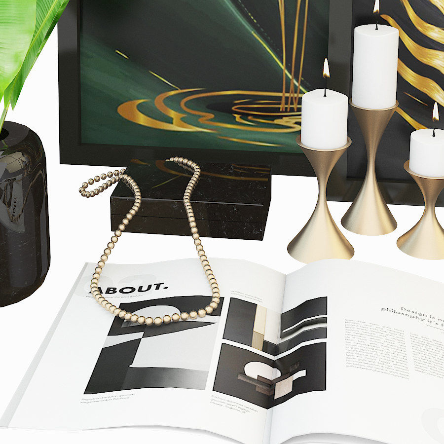 Decorative set for the interior 4 royalty-free 3d model - Preview no. 3