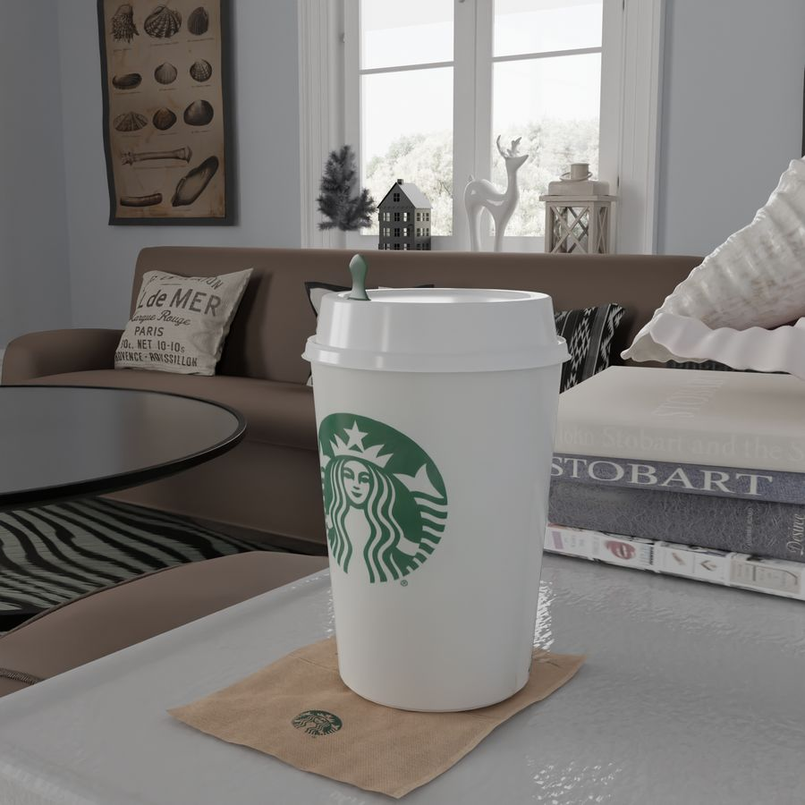 Starbucks Photorealistic PBR Cup Low-poly royalty-free 3d model - Preview no. 5