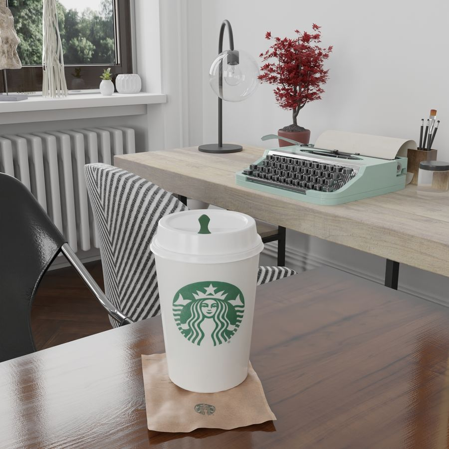 Starbucks Photorealistic PBR Cup Low-poly royalty-free 3d model - Preview no. 3
