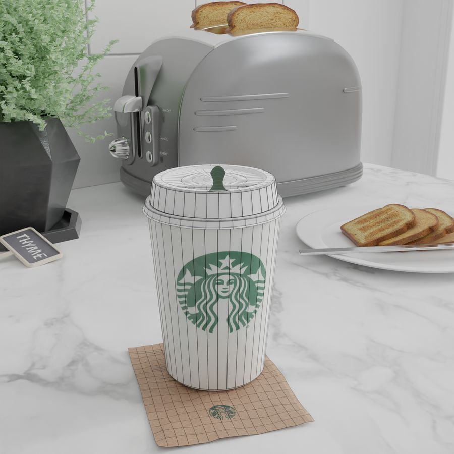Starbucks Photorealistic PBR Cup Low-poly royalty-free 3d model - Preview no. 10