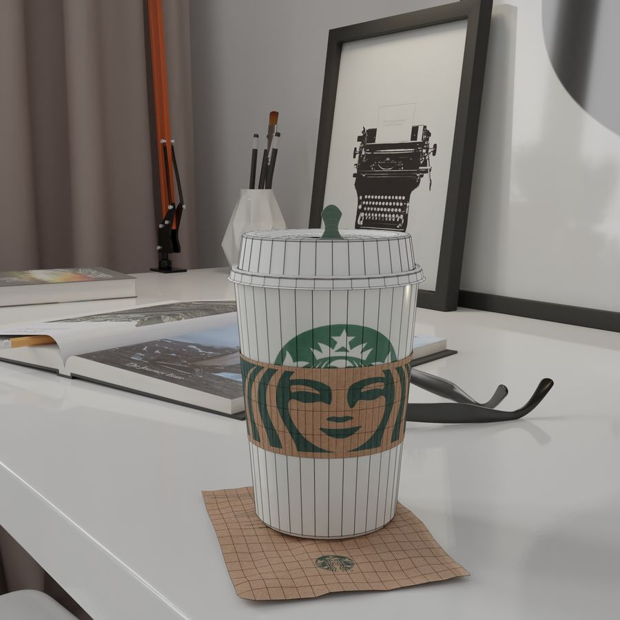Starbucks Photorealistic PBR Cup Low-poly royalty-free 3d model - Preview no. 7