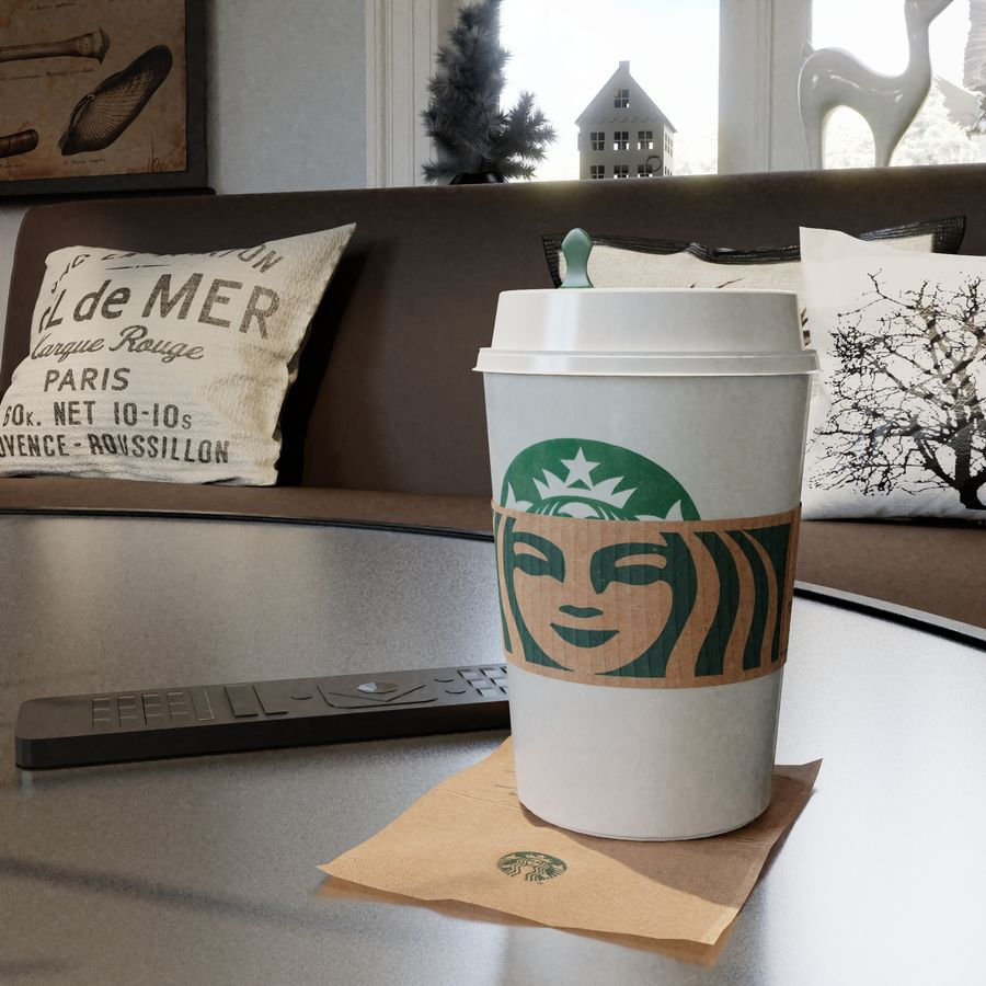 Starbucks Photorealistic PBR Cup Low-poly royalty-free 3d model - Preview no. 1