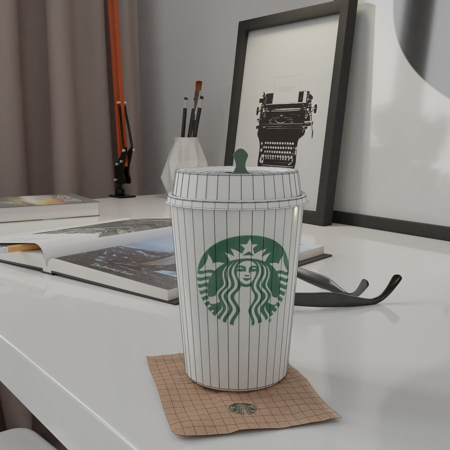 Starbucks Photorealistic PBR Cup Low-poly royalty-free 3d model - Preview no. 8