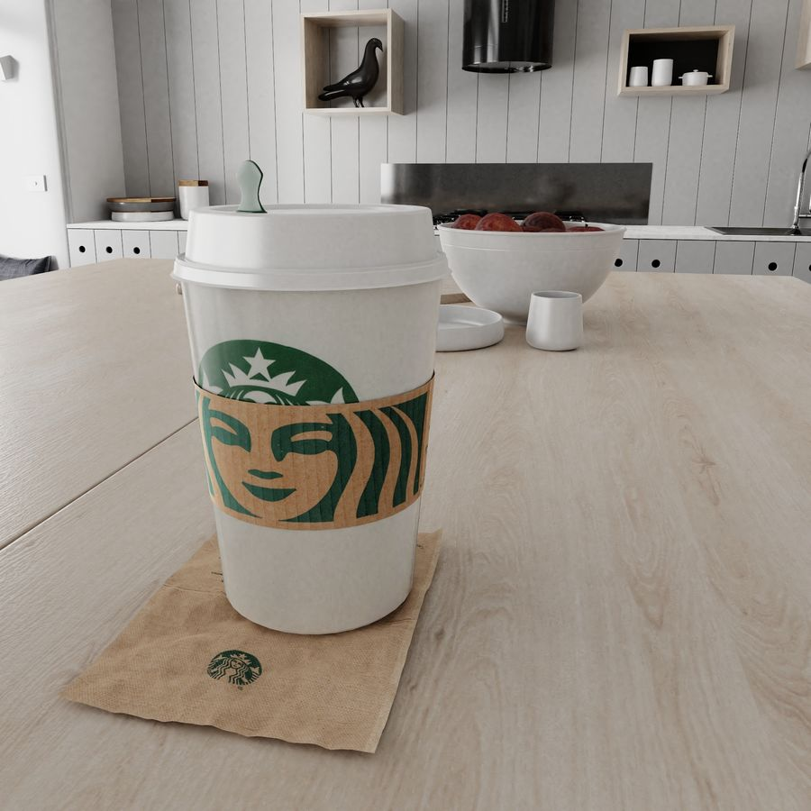 Starbucks Photorealistic PBR Cup Low-poly royalty-free 3d model - Preview no. 4