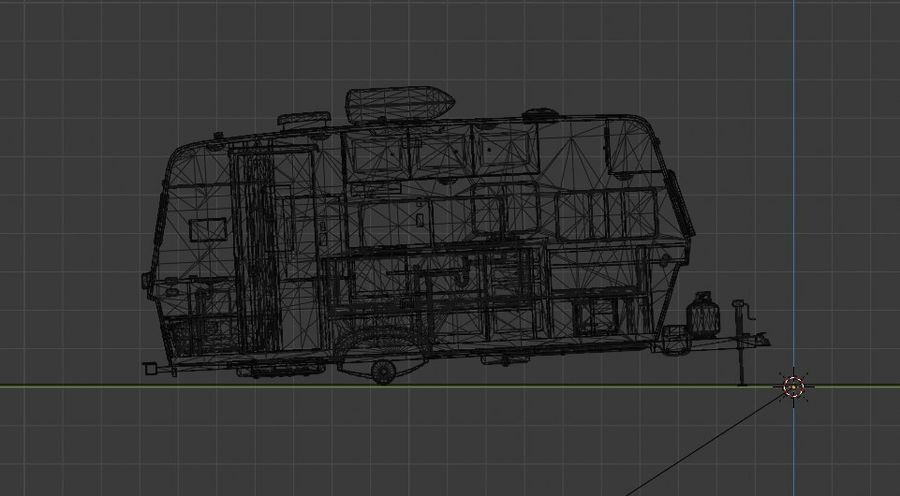 caravan trailer royalty-free 3d model - Preview no. 5