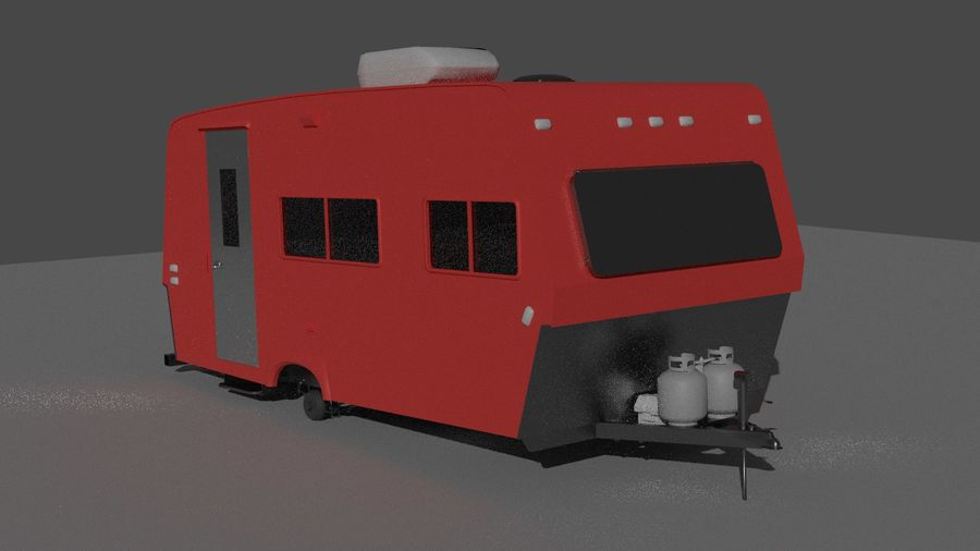 caravan trailer royalty-free 3d model - Preview no. 1