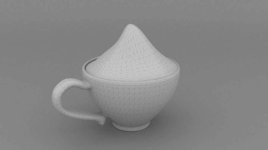 Teacup with Stylized Sugar royalty-free 3d model - Preview no. 4