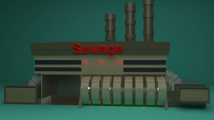 The Sewage Plant-Low Poly 3d model Low-poly royalty-free 3d model - Preview no. 3