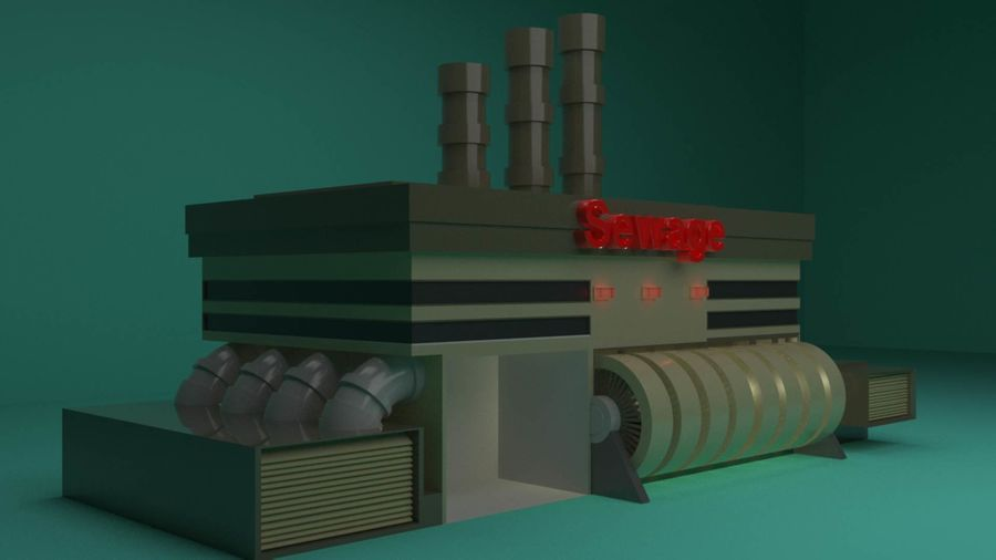 The Sewage Plant-Low Poly 3d model Low-poly royalty-free 3d model - Preview no. 2