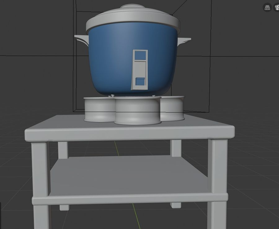rice cooker royalty-free 3d model - Preview no. 2