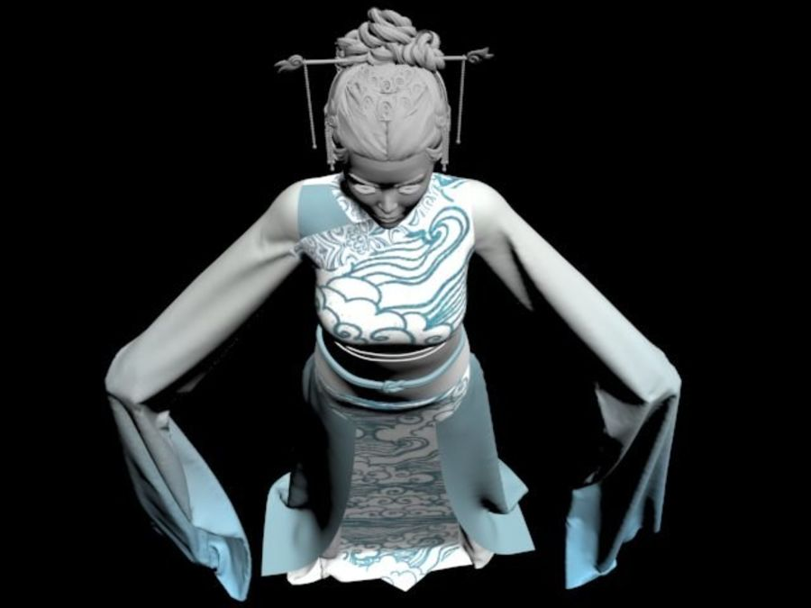 Traditional Chinese Dancer Dress royalty-free 3d model - Preview no. 6