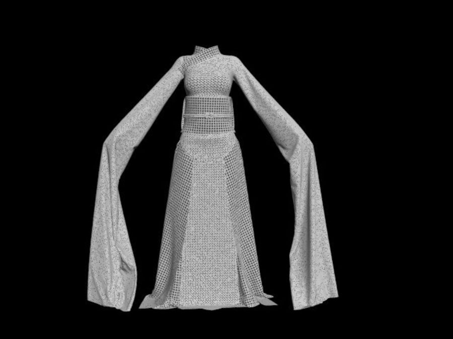 Traditional Chinese Dancer Dress royalty-free 3d model - Preview no. 18