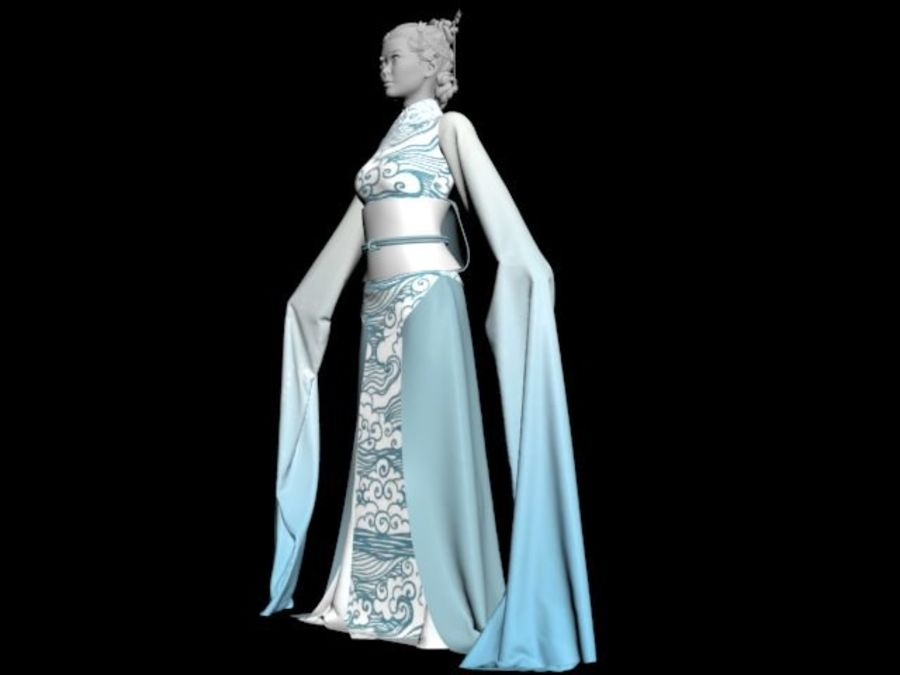 Traditional Chinese Dancer Dress royalty-free 3d model - Preview no. 3