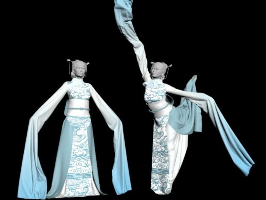 Traditional Chinese Dancer Dress royalty-free 3d model - Preview no. 1