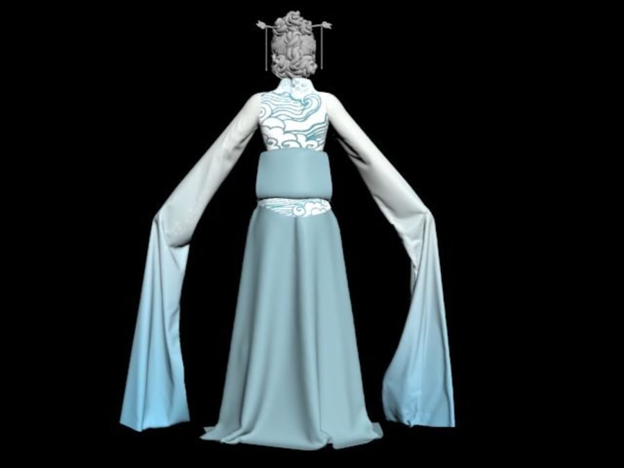 Traditional Chinese Dancer Dress royalty-free 3d model - Preview no. 4