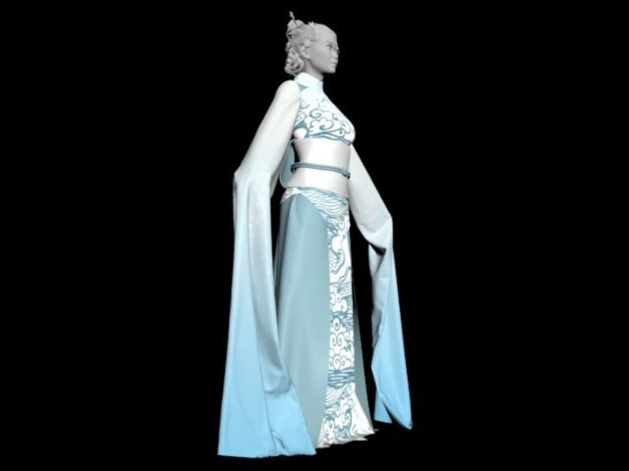 Traditional Chinese Dancer Dress royalty-free 3d model - Preview no. 5