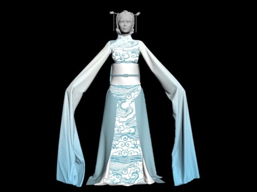 Traditional Chinese Dancer Dress royalty-free 3d model - Preview no. 2