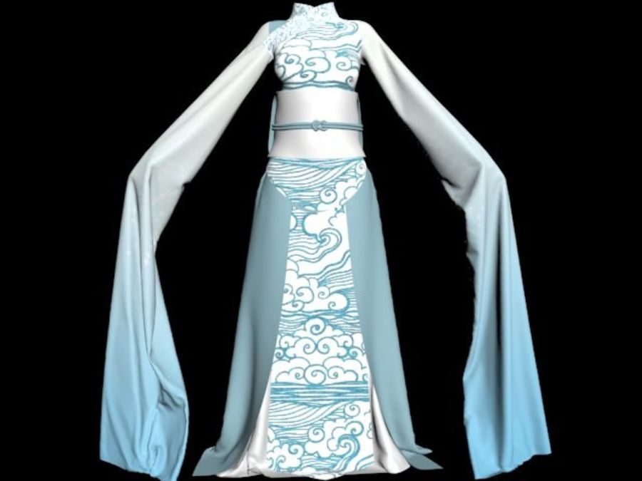 Traditional Chinese Dancer Dress royalty-free 3d model - Preview no. 7
