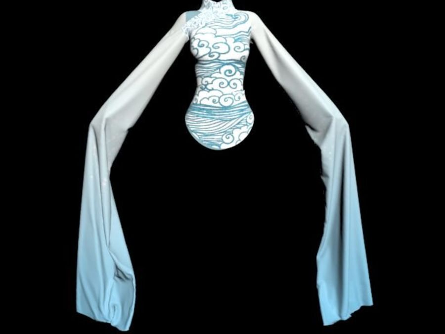 Traditional Chinese Dancer Dress royalty-free 3d model - Preview no. 8