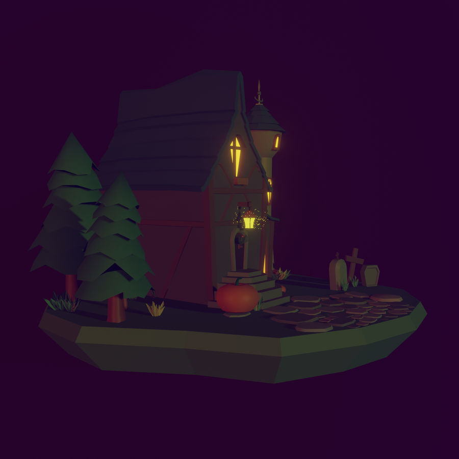 Haloween house royalty-free 3d model - Preview no. 3