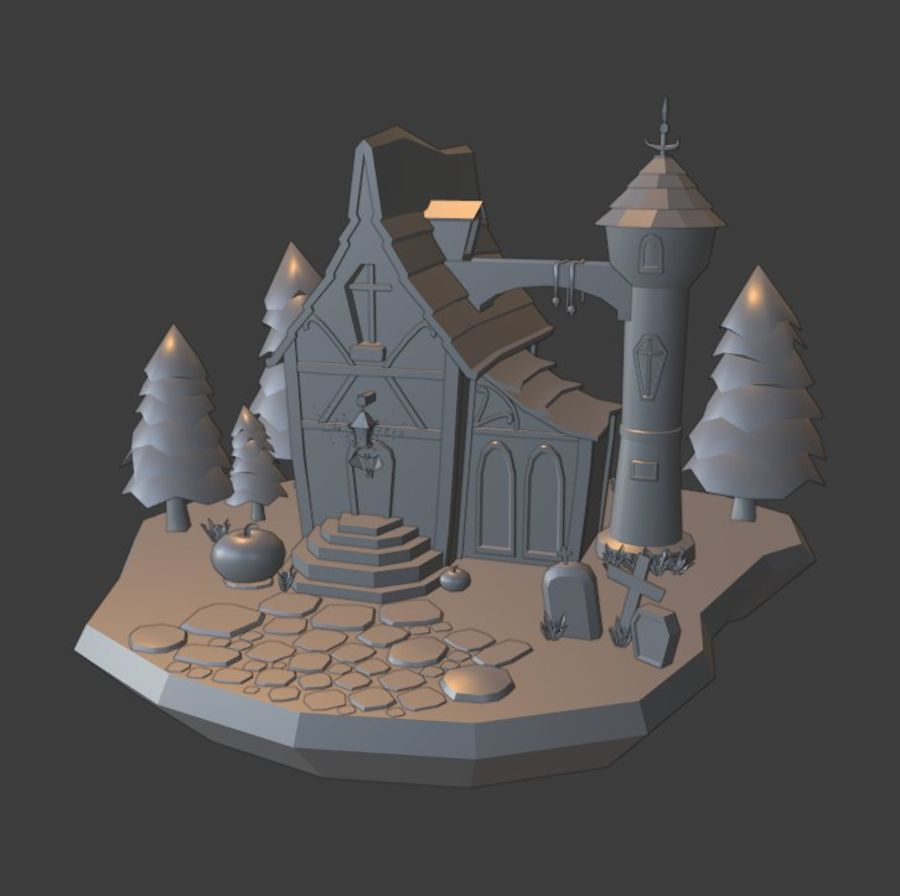 Haloween house royalty-free 3d model - Preview no. 5