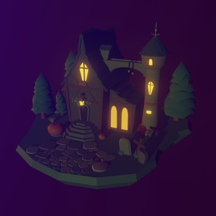 Haloween house royalty-free 3d model - Preview no. 1