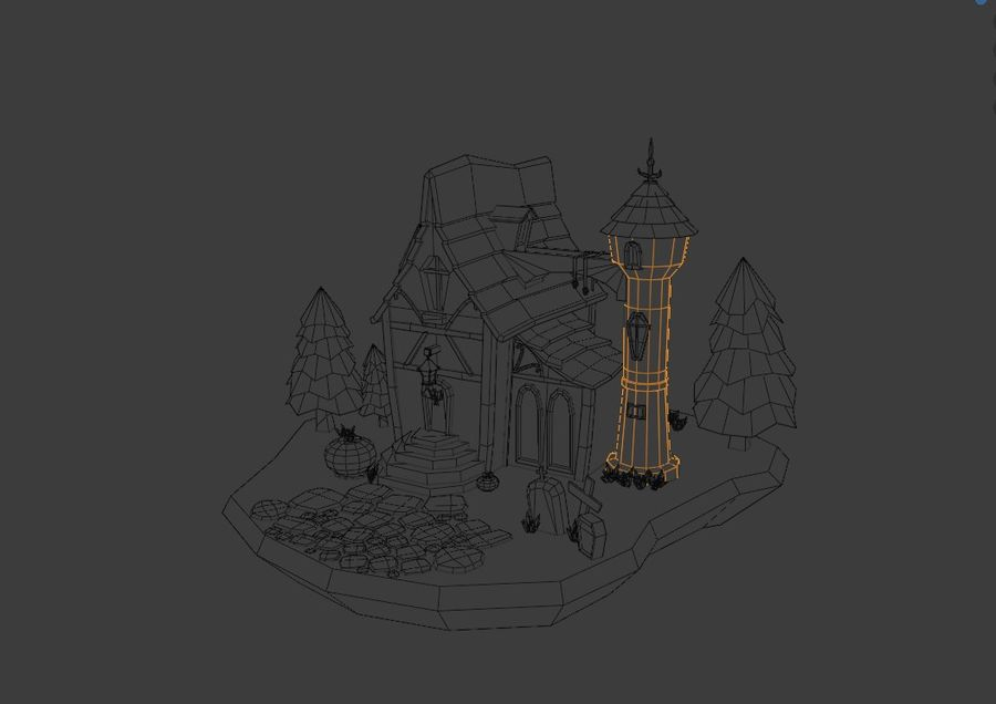 Haloween house royalty-free 3d model - Preview no. 6