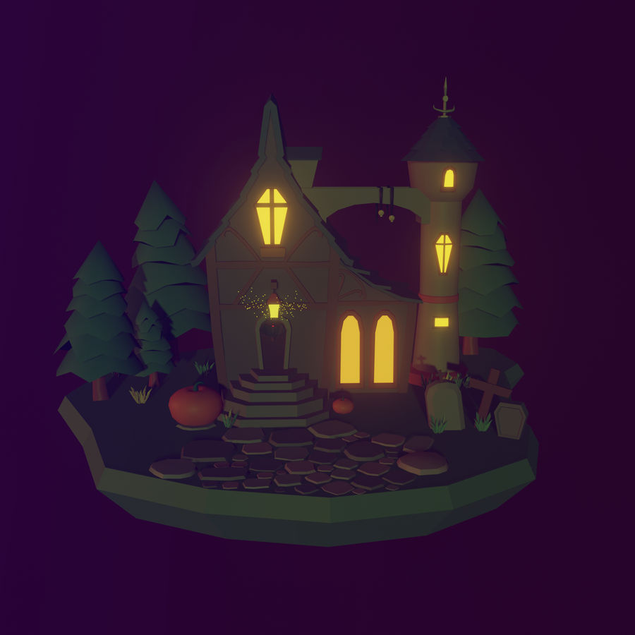 Haloween house royalty-free 3d model - Preview no. 2