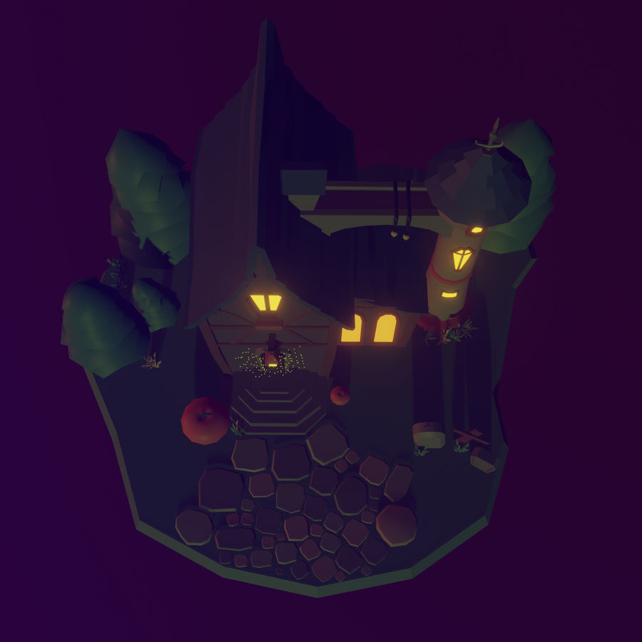 Haloween house royalty-free 3d model - Preview no. 4