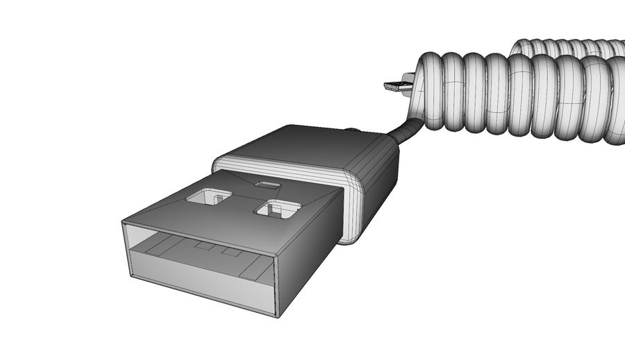 Coiled USB cable royalty-free 3d model - Preview no. 12