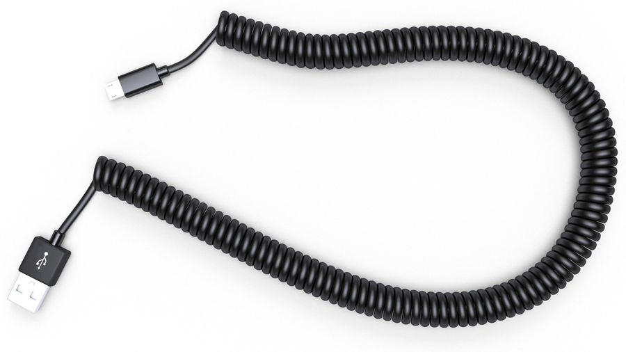 Coiled USB cable royalty-free 3d model - Preview no. 7