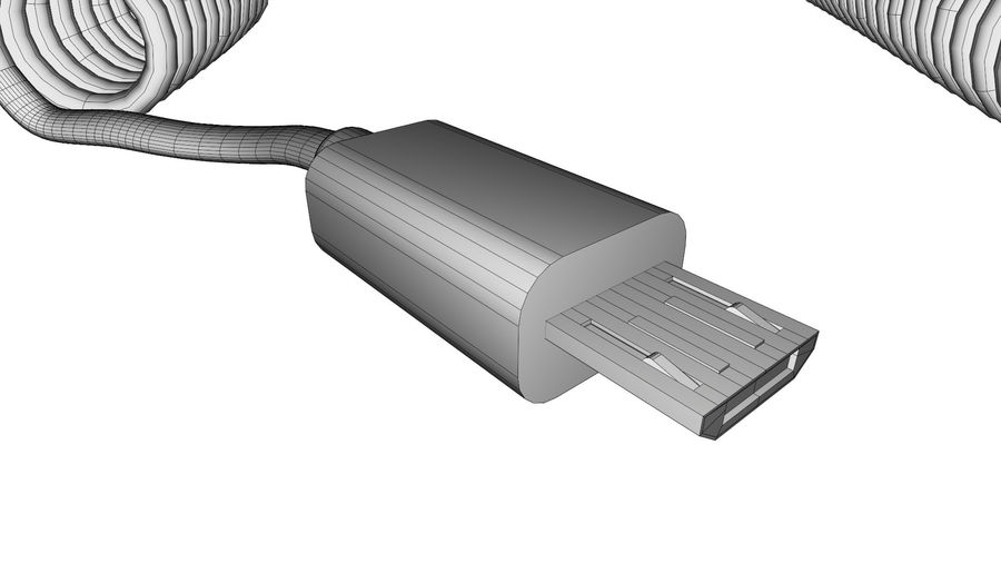 Coiled USB cable royalty-free 3d model - Preview no. 11