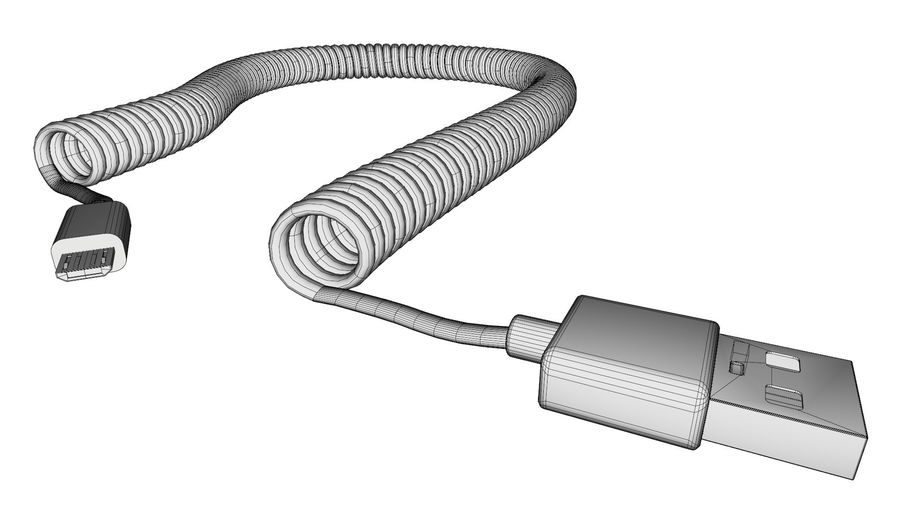 Coiled USB cable royalty-free 3d model - Preview no. 10