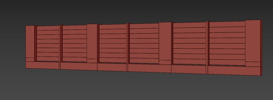 Modern fence royalty-free 3d model - Preview no. 5