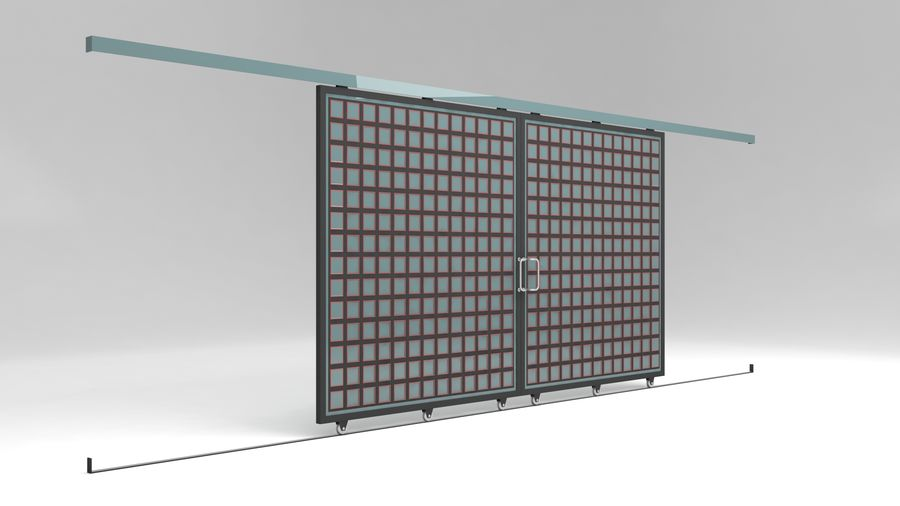 Factory and warehouse and garage door royalty-free 3d model - Preview no. 1