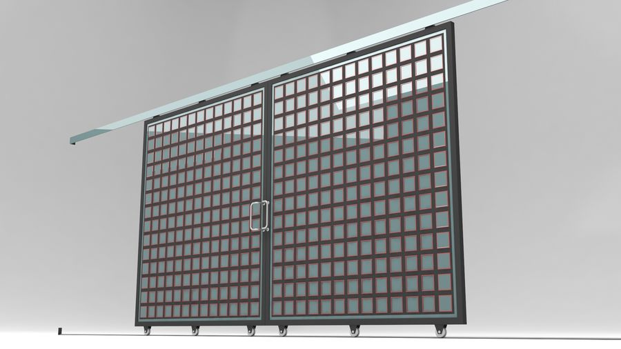 Factory and warehouse and garage door royalty-free 3d model - Preview no. 6