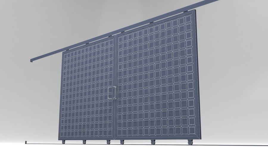 Factory and warehouse and garage door royalty-free 3d model - Preview no. 16