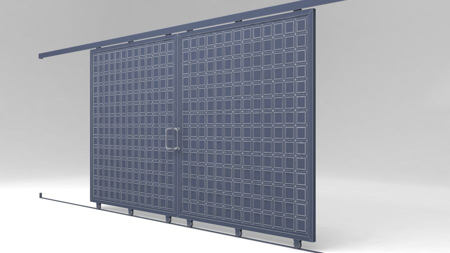 Factory and warehouse and garage door royalty-free 3d model - Preview no. 13