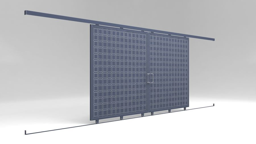 Factory and warehouse and garage door royalty-free 3d model - Preview no. 11