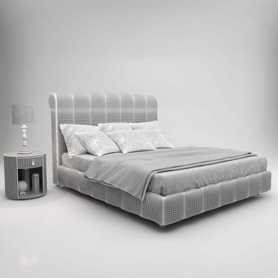Bed 1 royalty-free 3d model - Preview no. 5