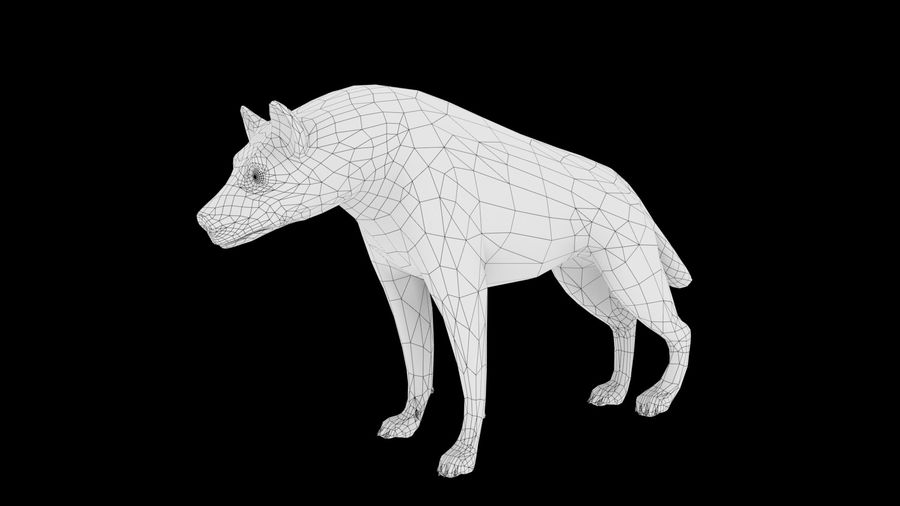 Realistic Rigged Low Poly Hyena royalty-free 3d model - Preview no. 8
